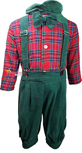Baby Toddler Boys Christmas Suspender Bowtie Knickers Suit Set Corduroy Red Green Plaid 12-18M