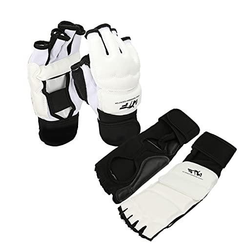 Taekwondo Gloves Set, Half Finger Gloves Hand Foot Protector Taekwondo Sparring Set for Men Women Kids, Leather Gear…