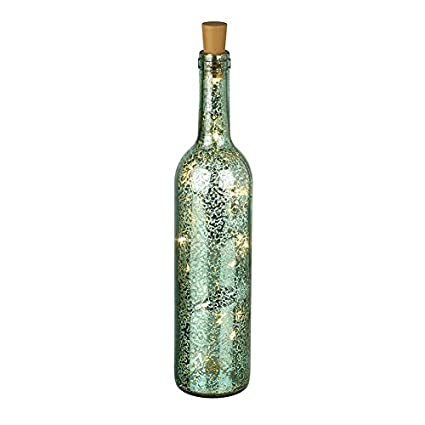 Heaven Sends - Botella decorativa de cristal verde con luces LED