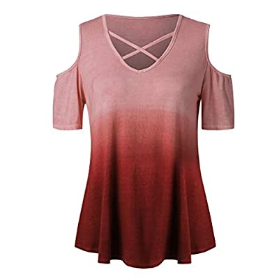 Seaintheson Women's Short Sleeve Tops,Summer V Neck Gradient Colour Loose Casual Simple T Shirt Fit Pleated Flowy Tee Blouse: Clothing