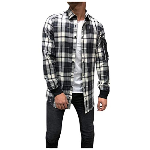Men's Big & Tall Casual Button-Down Shirts Essential Plaid Open Collar Long Sleeve Shirt KLGDA Gray from KLGDA Mens Tops