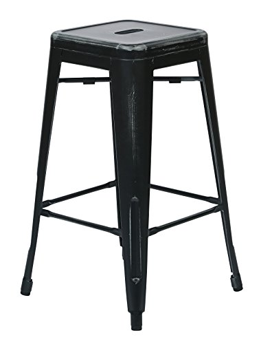 Black Antique Bar Stools (Office Star Bristow Antique Metal Barstool, 26-Inch, Antique Black, 2-Pack)