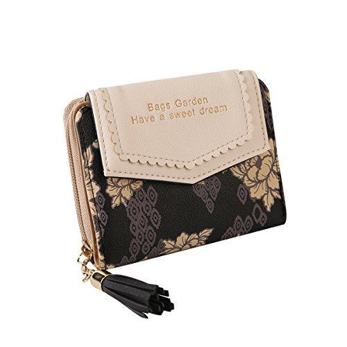 Jastore Womens Lady Flower Print Leather Wallet Card Holder Clutch Purse (A Black)