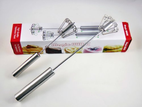 "10""+14"" 2 in 1 Package Hand Operated Self Turning Stainless Steel Magic Whisk Mini Sports Edition Miracle Mixer"