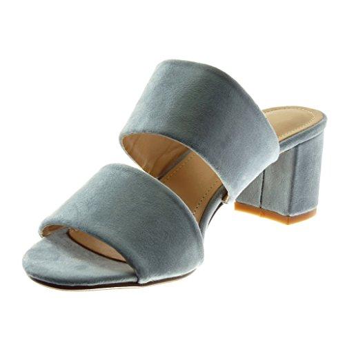 Zapatillas Alto Cm Moda Mujer Slip Mules Tanga on Azul 5 5 Ancho Tacón Sandalias Angkorly q4vwHndq
