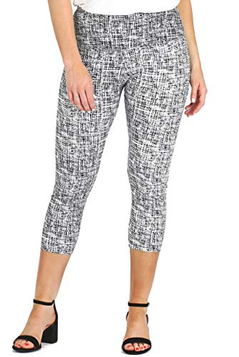 Petite Cross - INTRO. Tummy Control High Waist Capri Cotton \ Spandex Legging Black - White Cross Hatch Print Size Petite Medium