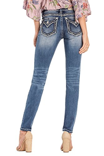 Miss Me Flap Pocket Jeans - Miss Me Junior's Mid-Rise Stretch Skinny Jeans With Faux Flap Pockets, Medium Blue, 34