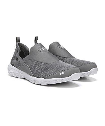 Ryka Womens Helena Slip On Sneaker (12 M, Grigio / Bianco / Argento)
