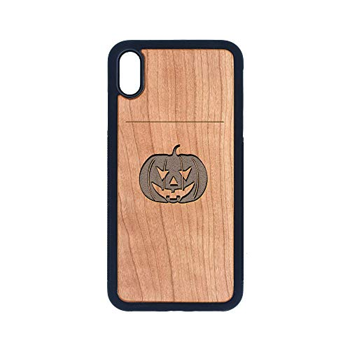 Halloween Pumpkin FACE - iPhone Xs MAX CASE - Cherry Premium Slim & Lightweight Traveler Wooden Protective Phone CASE - Unique, Stylish & ECO-Friendly - Designed for iPhone Xs MAX -
