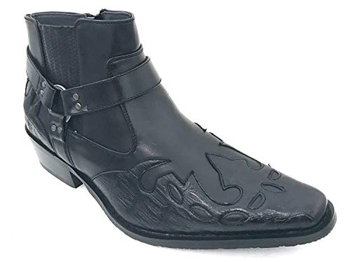 G4U-Alberto Fellini W-11s Men's Cowboy Boots Western Ankle Harness Leather LiningSide Zipper Shoes (9 D(M) US