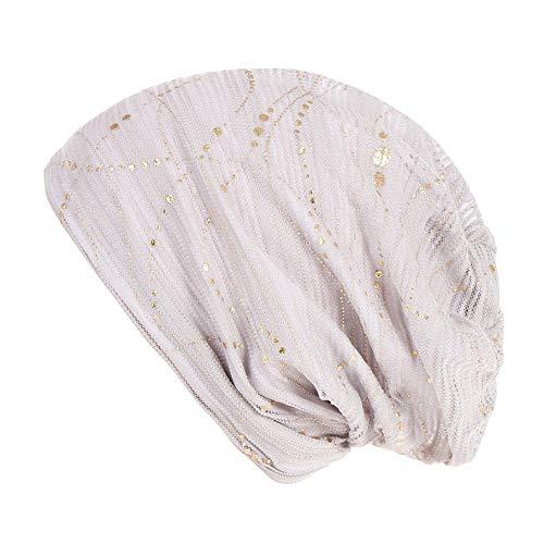 (Women Muslim Hat,Solid Bead Stretch Retro Turban Hats Head Wrap Cap (White))