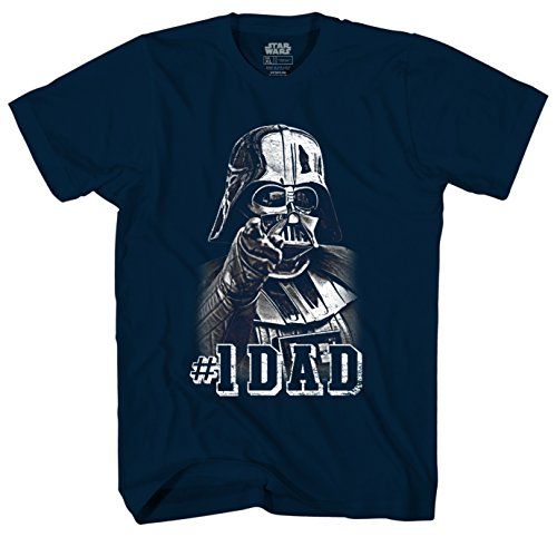 Star Wars Darth Vader #1 Dad Father Men's Adult Graphic Tee T-Shirt (Medium, Navy)