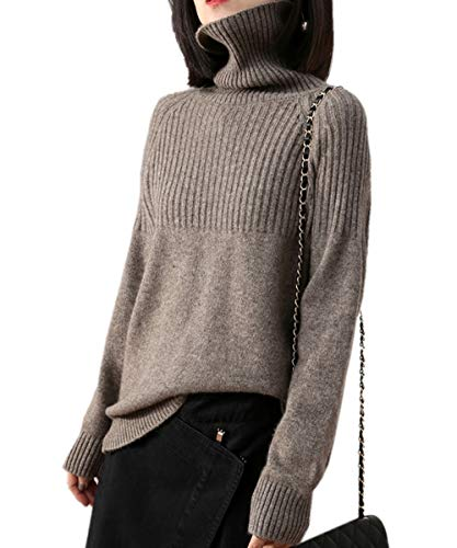 Cashmere Sweaters Women Loose Jumpers Wool Knit Split Thick Turtleneck Pullover Winter (M/US Size 8-10, Camel)