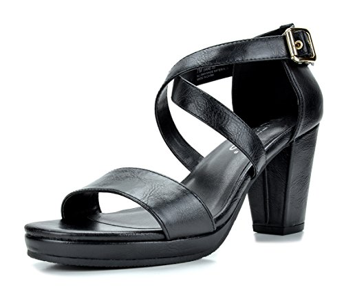 TOETOS DIANE-03 New Women's Cross Strap Open Toes Mid Chunky Heels Platform Dress Sandals Black Size - 3 Black Strap Sandal