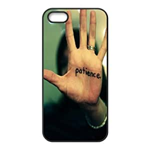 iPhone 5,5S Case,Patience Is A Virtue Hard Shell Back Case for Black iPhone 5,5S Okaycosama325457