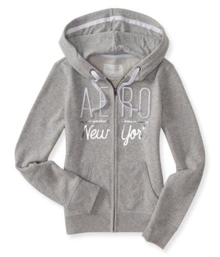 Aeropostale Women's Full-Zip Hoodie With Silver Logo Aero New York In Style 7510 (Light Grey, Medium)