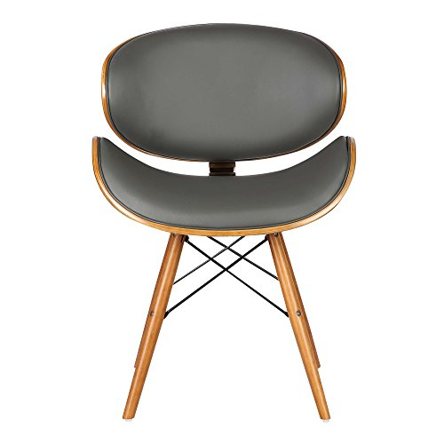 Armen Living Cassie Dining Chair in Grey Faux Leather and ...