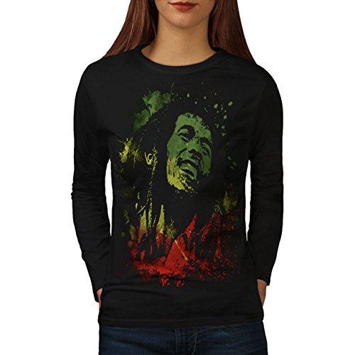 wellcoda Legend Man Rasta 420 Womens Long Sleeve T-Shirt, Rasta Graphic Design Black M