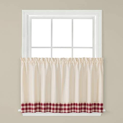 SKL Home by Saturday Knight Ltd. Cumberland Curtain Tier Pair, 57 x 24 , Garnet, 2 Pack