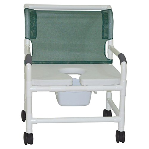 MJM International 126-4-NB-FSSS Extra Wide Shower Chair with Full Support Soft Seat, Royal Blue/Forest Green/Mauve (Series Bariatric)