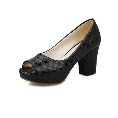 AllhqFashion Women's Open Toe High-Heels Patent Leather Solid Pull-on Heeled-Sandals Black eVkbvbyS1Y