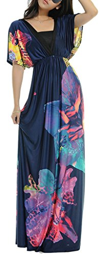 Wantdo Women's Boho Bohemian V-neck Beach Maxi Dress Plus Size,5X Plus/Tag 6XL,915 Navy (Dresses In 5x For Women)