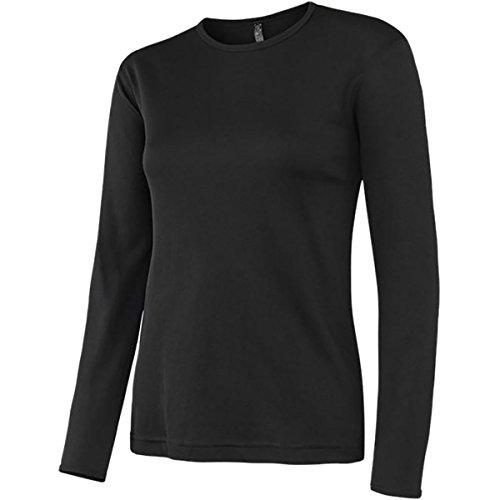 Terramar Women's Polypropylene Lightweight Mesh Knit Long Sleeve Crew Hoodie, Black, Small (6-8)