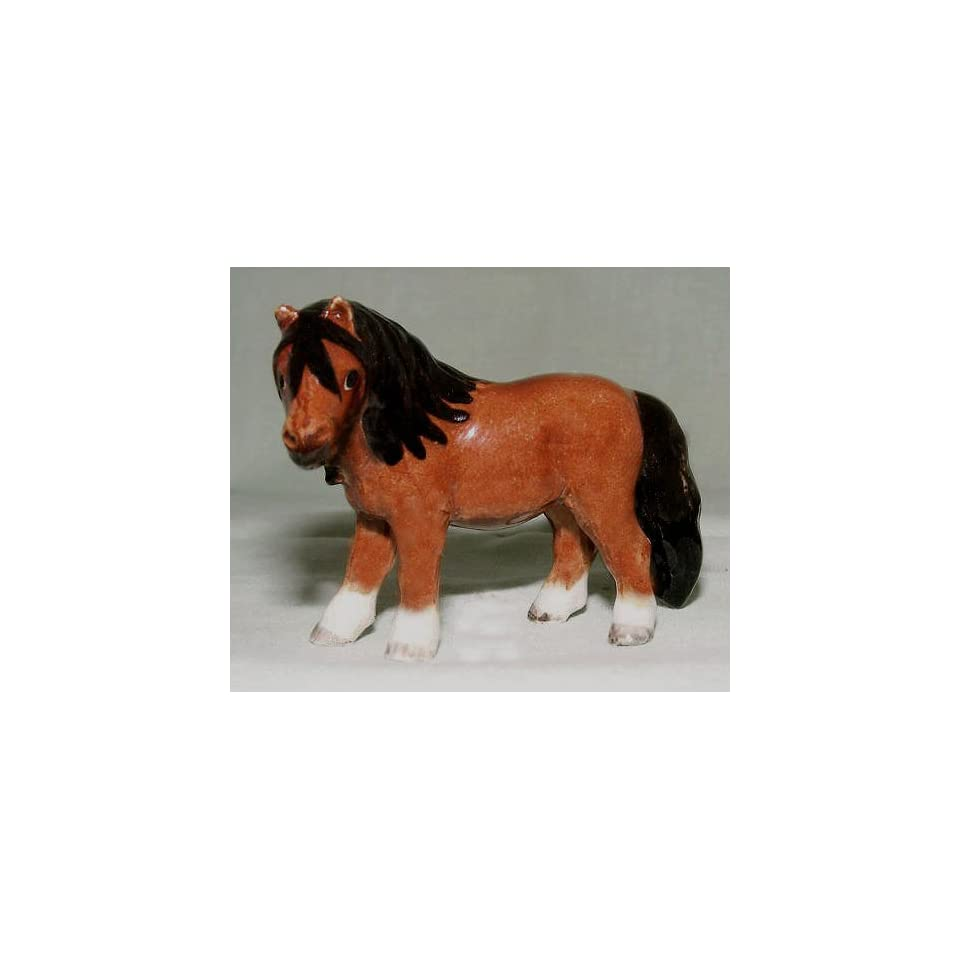 HORSE Shetland Pony Bay Stands New MINIATURE Figurine Porcelain KLIMA L7873A