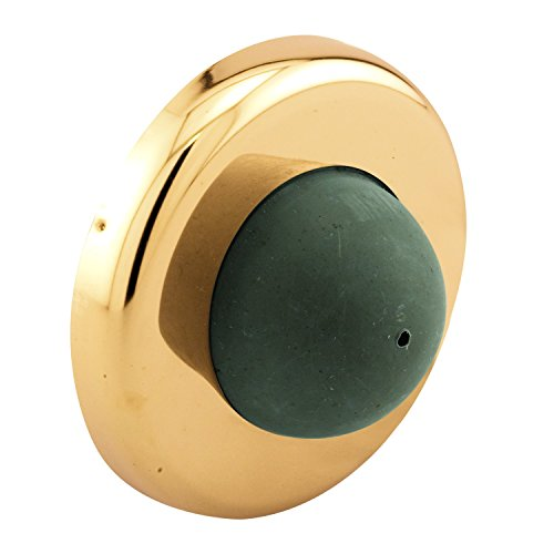 Prime-Line MP4550 Stop, 2-1/2 in. Outside Diameter, Stamped Steel, Polished Brass, Wall Mount, Convex Rubber Bumper, Pack of 5