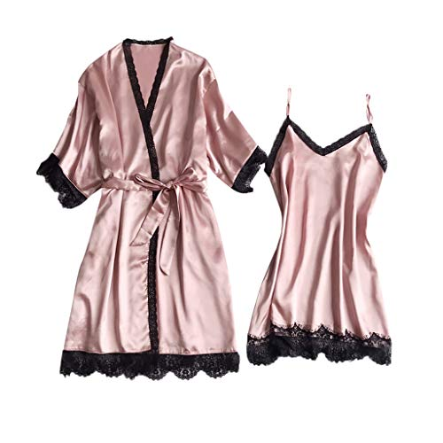 (CCOOfhhc_Sleepwear Sets for Women Lace Nightgown V-Collar Satin Short Robe Kimono with Belt Two Piece Short Set Pink)