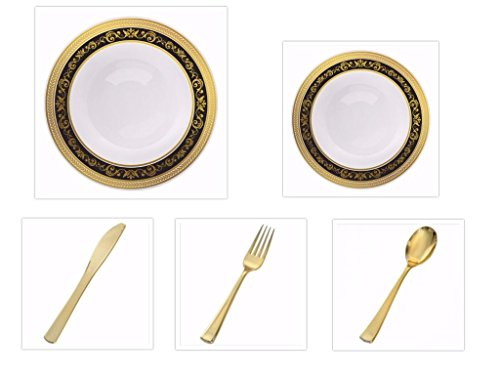"""Royal Collection White w/Black and Gold Royal Border 10.25"""" Dinner Plates + 7.25"""" Salad Plates + Gold Plastic CutleryParty of 20 (100 Total PIECES!!) …"""