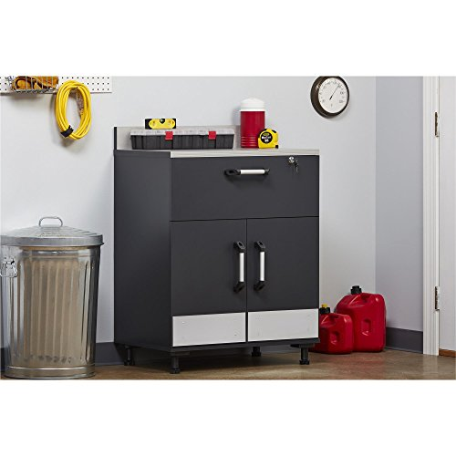 SystemBuild  Boss 2 Door and 1 Drawer Base Cabinet, Charcoal Gray