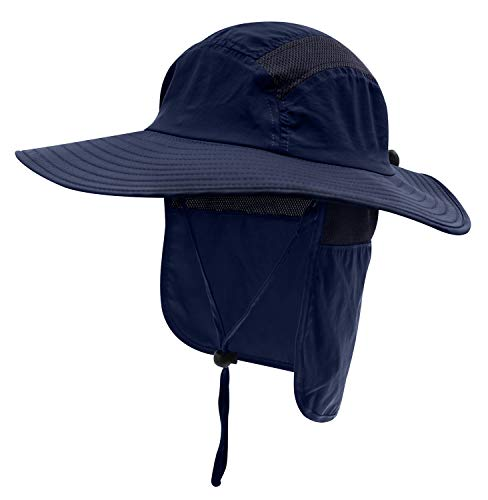 Home Prefer Mens UPF 50+ Sun Protection Cap Wide Brim Fishing Hat with Neck Flap (Navy Blue)