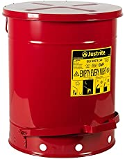 Justrite 9500 Galvanized Steel Oily Waste Safety Can with Foot Lever, 14 Gallons Capacity, Red