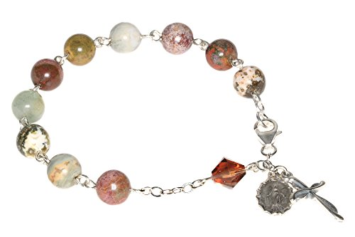 Womens Catholic Prayer Rosary Bracelet made with Ocean Jasper Gemstones and Swarovski Crystal Element