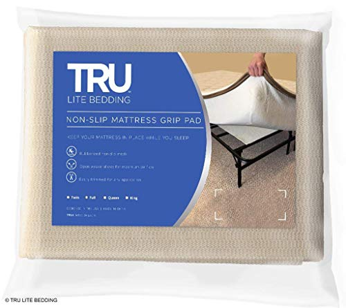 TRU Lite Bedding Non Slip Mattress Pad - Grip Pad Locks in Place - Non Slip Mat fits Platform or Futon Mattresses - Twin Size - Rug Gripper for 3' x 6' Rug
