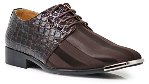 JY2N Men's Satin Metal Silver Tip Oxfords Dress Shoes Stripes Church Wedding Party Groomsmen Oxfords Dress Shoes (11, Brown) by Enzo Romeo