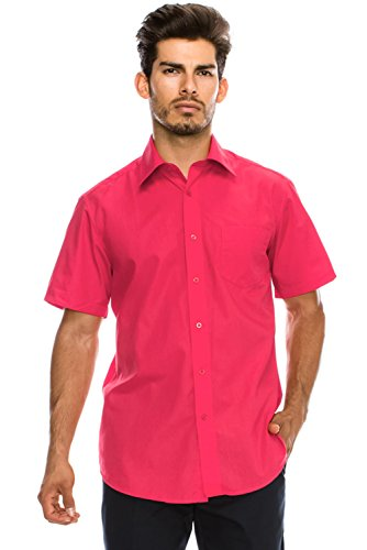(JC DISTRO Men's Regular-Fit Solid Color Short Sleeve Dress Shirt, Fuschia Shirts (M))