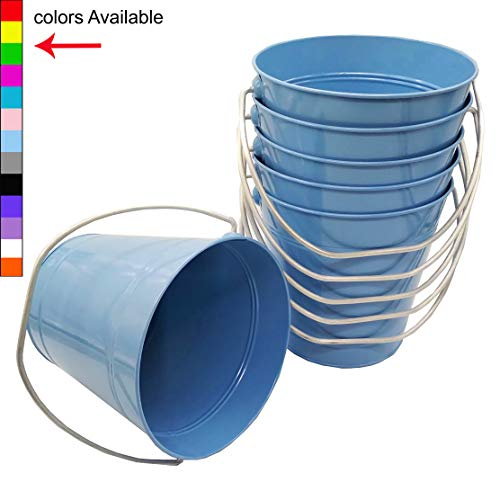 Italia 6-Pack Metal Bucket 3.7 Quart Color Light Blue Size 7.5 x 7.5