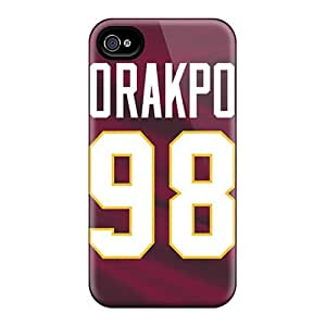 Shock-Absorbing Cell-phone Hard Covers For Iphone 4/4s With Allow Personal Design HD Washington Redskins Series CharlesPoirier
