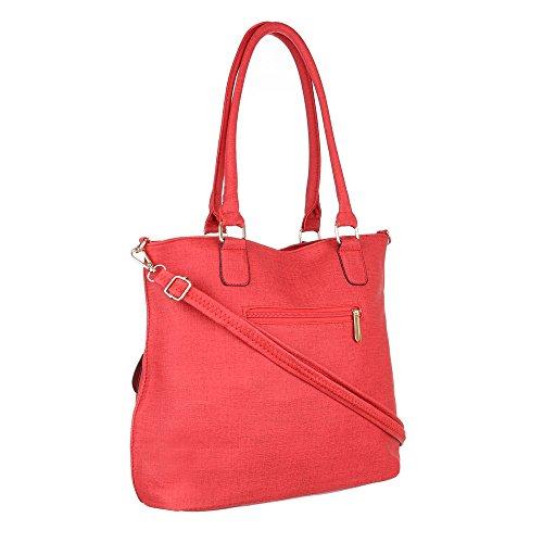 Damen Tasche, Schultertasche, Mittelgroße Handtasche, Kunstleder, TA-C55 Rot