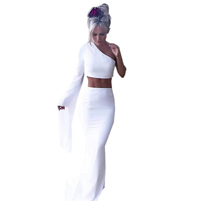 f32fe4f26f7bf Keliay Bargain Women Sexy One Shoulder Shirt Blouse Split Bodycon Dress  Two-Piece Outfit
