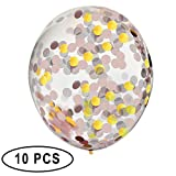 Confetti Balloons Pink and Gold 18'' Pre-Filled, 10pc Pack, For Fun Events, Birthdays, Bachelorette Party, Weddings, Engagements, Graduations, Holidays and More!