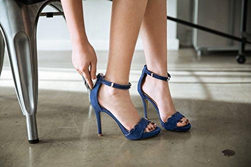 Beauté De Chaussures Talons Femme Hauts Noir Fine Douce Bleu à Boucle XIAOQI avec Ouvert Bout Bout Sandales Été Dentelle Mode Tq7aFfnxw7