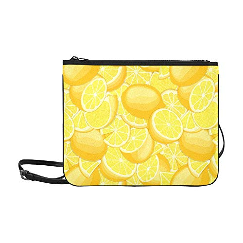 - Fresh Ripe Juicy Tropical Lemon Background Pattern Custom High-grade Nylon Slim Clutch Bag Cross-body Bag Shoulder Bag
