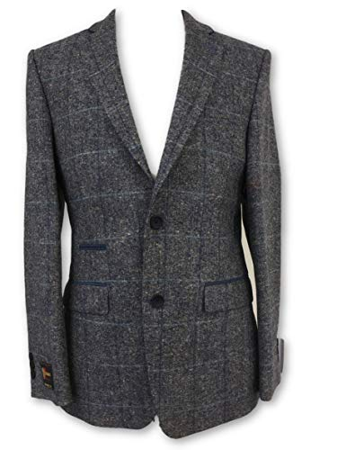 44R 44R Blue Size Check in Jacket Santinelli Wool Wool Wool Grey Donegal 07wEPnq1