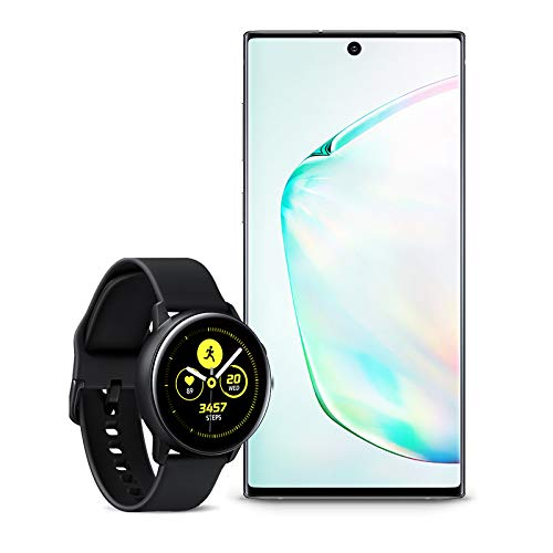 Samsung Galaxy Note 10 Factory Unlocked Cell Phone with 256GB (U.S. Warranty), Aura Glow (Silver) Note10 with Galaxy Watch Active (40mm), Black - US Version with Warranty