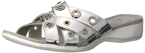 Anne Klein Womens Kandis Fabric Open Toe Casual Slide Sandals Silver BtED5
