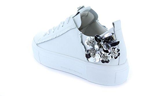 Kennel E Schmenger Schumanufaktur Ladies Sneaker Grande 71-21210-827 Gioielli Placca Appliqué In Pelle Nastro Di Raso Bianco