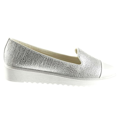 Angkorly Women's Fashion Shoes Mocassins - Bi Material - Snakeskin - Braided - Shiny Wedge Platform 3 cm Grey avJiL